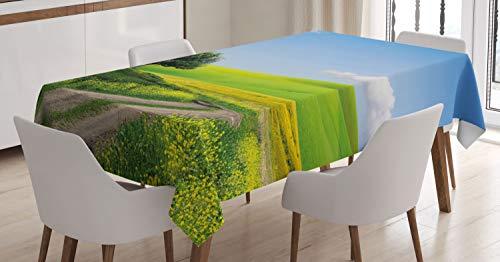 ABAKUHAUS Natuur Tafelkleed, Landelijk Landschap, Eetkamer Keuken Rechthoekige tafelkleed, 140 x 170 cm, Apple Green Pale Blue