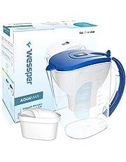 Wessper Aquamax - Jarra de Agua Filtrada con 1 Filtro, 3.5L, Color Negro (compatible con Brita Maxtra)
