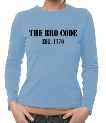 Touchlines T-Shirt How I Met Your Mother-The Bro Code, Blu (Skyblue), S Donna