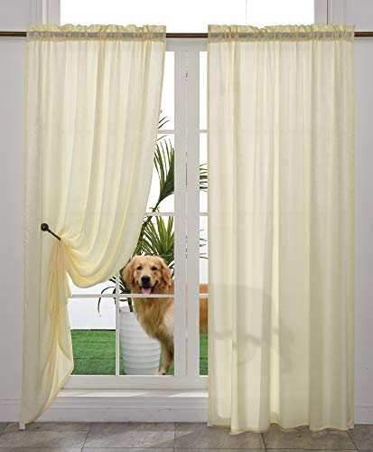 Yancorp Non-See-Through Velvet Opaque Privacy Curtains 2 Panels Drapes for Living Room Bedroom Doorway Divider Semi Sheer Curtain Cream White Yellow 63 inches Kitchen Window Panels (Cream, W52 xL63)