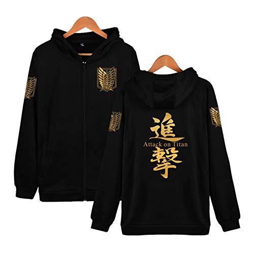 Zhuchao Attack on Titan Sudadera con Capucha Scout Legion Pullover Hooded Sweatshirt Wings of Liberty Estampado Disfraz de Cosplay Anime Casual Lana Chaqueta Sudadera con Cremallera