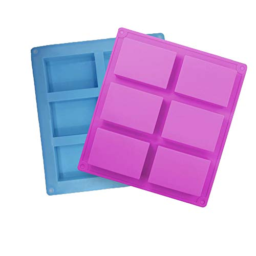 Stampi Silicone per Sapone, 2 pezzi Stampo in Silicone per Sapone 6 Cavità Rettangolari per Sapone Muffin Cupcake Cioccolato Biscotti fai da te (Blu + Viola)