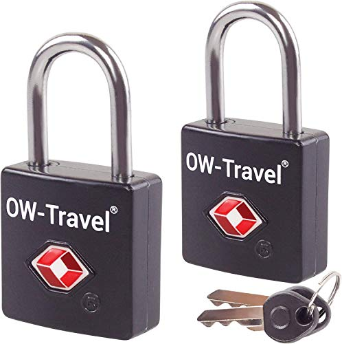 TSA Approved Luggage Locks Padlocks (2 Pack) OW-Travel Suitcase Locks with Keys. Heavy Duty Zinc Alloy Suitcase Padlocks with Key Lock for Luggage, Bag, Case, Backpack, Rucksack, Gym Locker (Black)
