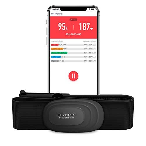 SHANREN Monitor de frecuencia cardíaca con correa para el pecho, monitor de ritmo cardíaco Beat 10 Bluetooth