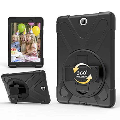 Hious Case for Samsung Galaxy Tab A 9.7 SM-T550/T555, Hybrid Three Layer Heavy Duty [360 Degree Swivel Stand/Hand Strap/Shoulder Strap] Shockproof Silicone Protective Cover For Samsung Tab A 9.7