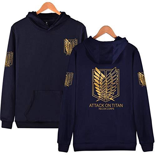 Attack On Titan Survey Corps Hoodie Sweatshirt, Anime Eren Mikasa Armin Cosplay Long Sleeve Cotton Tops for Womens Mens Navy Blue