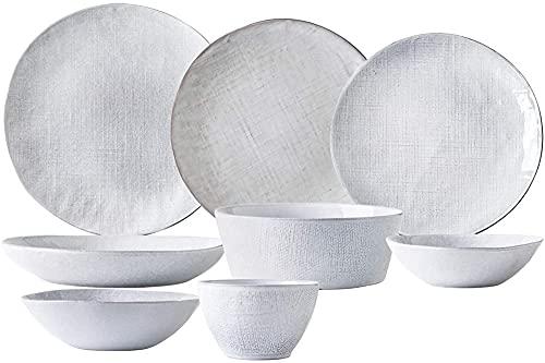 Cerámica Juego de vajillas 23 Piezas Creative Pattern Pattern Cena de Porcelana Conjunto de combinación | Cereales Cuencos y planchas de Carne Conjuntos para W