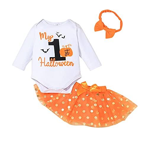 WangsCanis Conjunto de 3 piezas para niño y niña, 1 ° trajes de Halloween de manga larga, mono, calabaza, princesa, tul, tutú, falda de hilo, lazo, diadema, Color blanco., 12- 18 meses