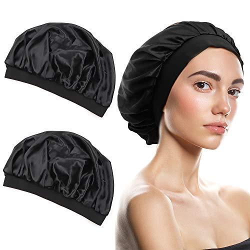 QMSILR 2 Pack Silk Bonnet Satin Bonnet Hair Nets for Women Sleeping Elastic Head Scarf Curly Hair Sleeping Bonnet Stay on Silk Hair Bonnet Head Cover for Natural Long Hair
