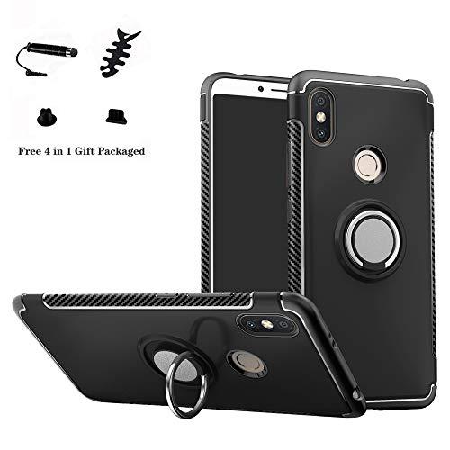 LFDZ Xiaomi Redmi S2 Hülle, 360 Rotation Verstellbarer Ring Grip Stand,Ultra Slim Fit TPU Schutzhülle für Xiaomi Redmi S2 / Redmi Y2 (mit 4in1 Geschenk Verpackt),Schwarz