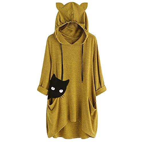 ReooLy Femmes Casuelles Imprimer Chat Oreille à Capuchon à Manches Longues de Poche irrégulière Haut Chemisière Shirt