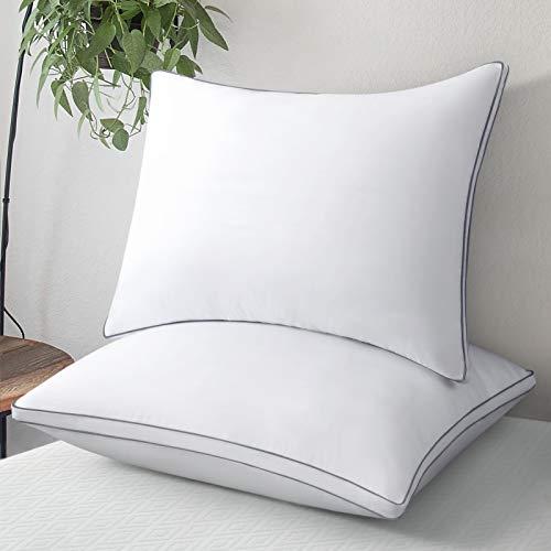 Lute - Juego de 2 almohadas de 50 x 70 cm, suaves pero firmes, almohada antiácaros, cojín de relleno de fibra hueca, 2 almohadas transpirables y voluminosas, hipoalergénicas y antitranspiración