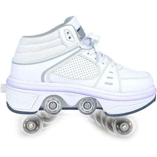 HANHJ Skates Rodillos Invisibles Zapatos Caminar 2 En 1 Patines Removibles Patines Patinaje Doble Fila Deformación Rueda Deformación Incorporada Batería Litio Recargable Luces 7 Colores,WHITE-41