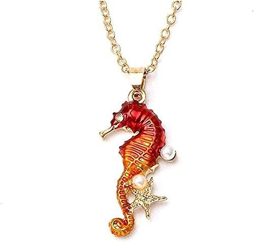 Yiffshunl Collar Collar de Acero Inoxidable Personalizado Colgante de Caballito de mar Rojo Moda Cien Adornos a Juego