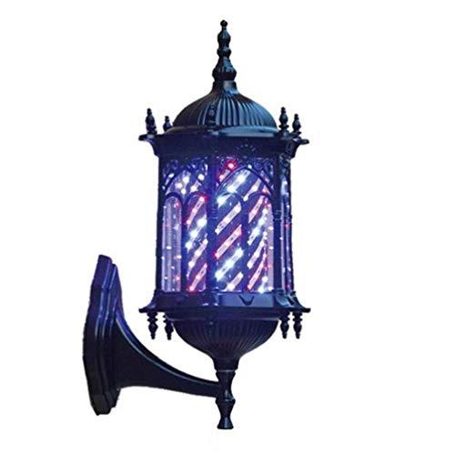 JUNWEN 19 Pulgadas Pole Babber LED Light Porch Style, Peluque Rotatoria Impermeable Peluquería Barber Shop Sign Retro Bronce Spinning Led Strips Lámpara de Pared