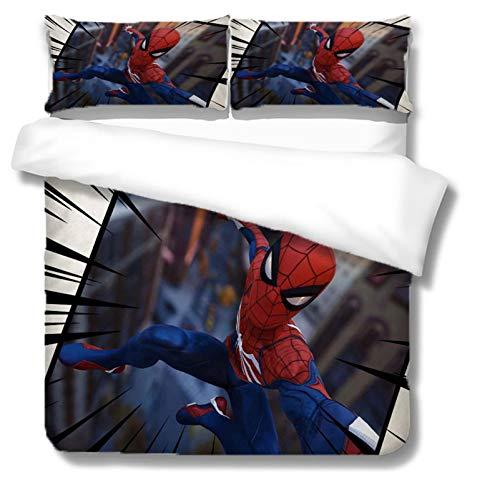 Itscominghome Spiderman - Juego de ropa de cama para niños, muy suave y cómodo, 100% microfibra, con estampado exquisito, funda nórdica y funda de almohada (Spider 08,220 x 240 cm)
