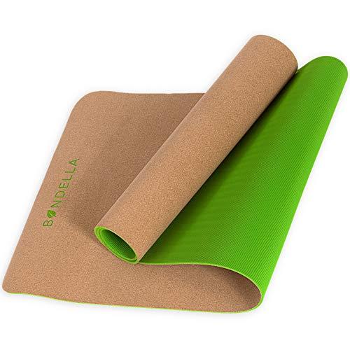 Bondella Ahimsa Premium Kork Yogamatte + Yoga Mat Strap - Yogamatte aus Kork (183x61x0,5) - Yogamatte rutschfest Kork - Ideal als rutschfeste...