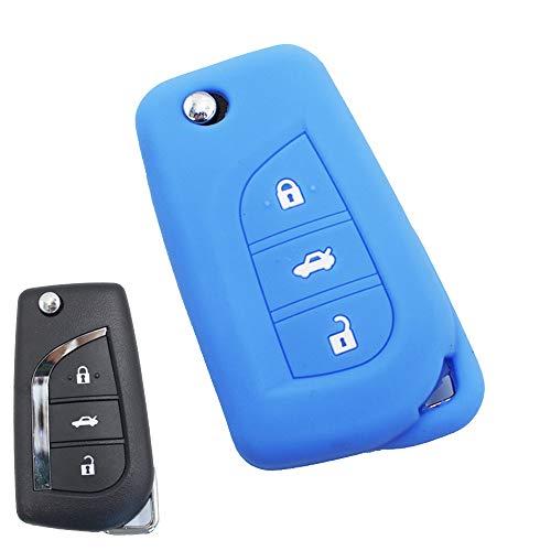 ECOiNVA Coque de clé de Voiture pour Toyota Corolla Levin Camry Prado Highlander RAV4 C-HR Izoa Reiz en Silicone pour clé de Voiture Bleu
