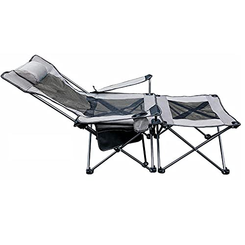 Silla Plegable con Reposapies, 2 en 1 Reclinable Silla de Camping Tela...