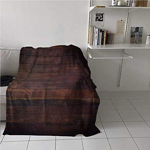 Throw Blanket Chocolate Air Conditioner Blanket Aged Weathered Dark Timber Oak Wooden Planks Floor Image Country Life Carpentry Best Gift for Women, Men, Kid, Teen Dark Brown 60x90 Inch