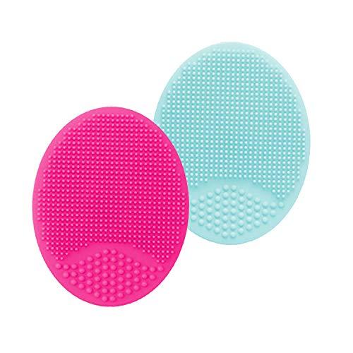 HieerBus Silikon-Gesichts-Bürste Scrubber, Gesichtsreinigungsbürste, Exfoliates stimuliert die Blutzirkulation für empfindliche/Mild/Trockene Haut (2ED-Blue + Red)