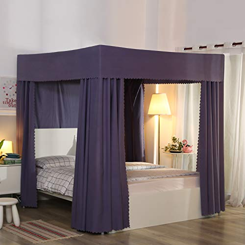 Mengersi 4 Corner Post Canopy Bed Curtains Windproof Lightproof Bedroom Decoration for Adults Girls Bed Canopies Full Size