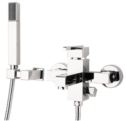 Designer Wannenarmatur komplett mit Duschkopfhalter, Duschkopf und Duschschlauch Badewannen Wasserhahn von DEANTE Modell
