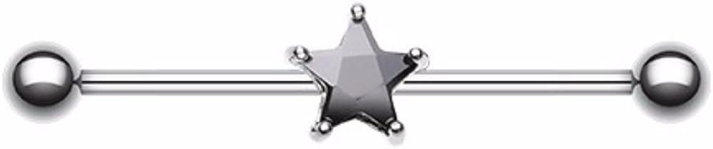 Gem Star 316L Surgical Steel WildKlass Industrial Barbell