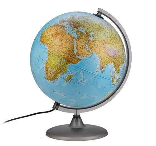 Interkart Globo terraqueo Estudiante, Imagen Doble iluminada. Idioma español de 30cm - con lámpara LED