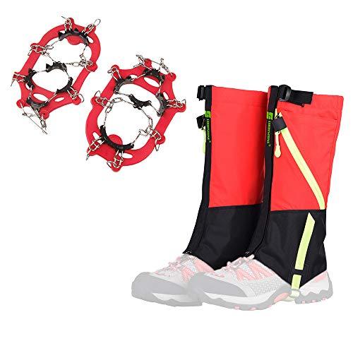 Lixada Crampon + Guêtres de randonnée, pour Adultes/Enfants, 8 Dents Antidérapant, Coupe-Vent, Respirant, pour VTT/Escalade Randonnée/Activités Extérieures Protection