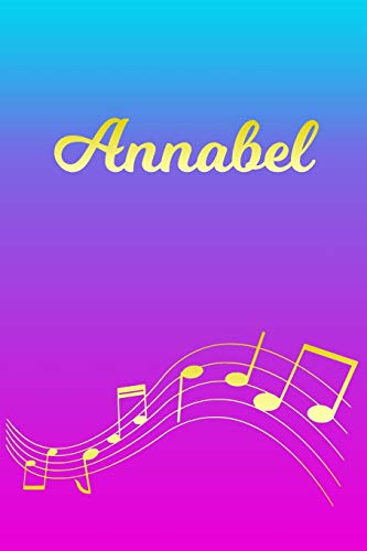 Annabel: Sheet Music Note Manuscript Notebook Paper – Pink Blue Gold Personalized Letter A Initial Custom First Name Cover – Musician Composer … Notepad Notation Guide – Compose Write Songs