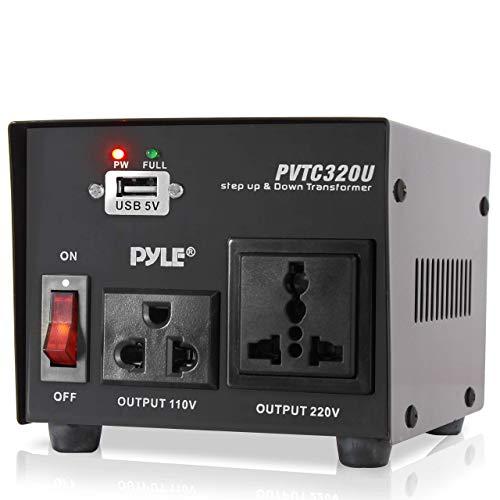 Step Up and Down Converter - 500 Watt Voltage Converter Transformer w/ USB Charging Port, UK Power Adapter, AC 110 / 120 to 220 / 240 Volt Vice Versa, 110V/120V/220V/240V Input Voltage - Pyle PVTC320U