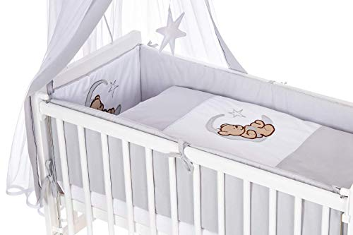 8-teilig Bettset-Stickerei für Beistellbett 90x40 Bettwäsche Himmel Nestchen Neu