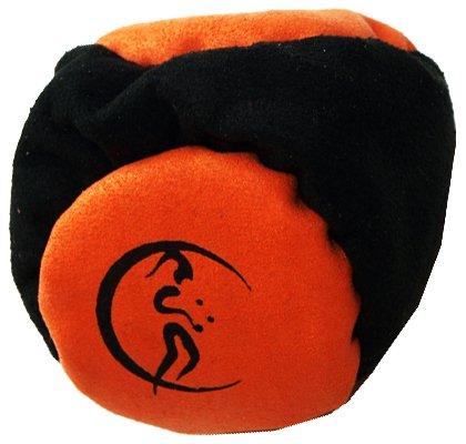 Profi Hacky Sack 2 Paneelen (Schwarz/Orange) Pro Freestyle Footbag! Hacky Sacks für Anfänger, ideal für Stände, Fänge, Verzögerungen u. Tritte!