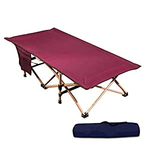 REDCAMP Extra Long Kids Cot for Camping, Sturdy Steel Folding Toddler Cot Bed for Travel Sleeping, Portable with Carry Bag, Wine Red 53×29