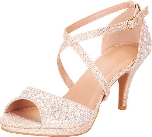 Cambridge Select Women's Open Toe Crisscross Strappy Crystal Rhinestone Mid Heel Sandal,7.5 B(M) US,Champagne Glitter