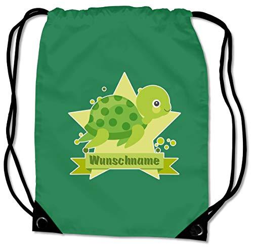 Samunshi® Turnbeutel mit Motiv Schildkröte und Name für Jungen und Mädchen personalisierbar personalisiert mit Namen Sportbeutel für Schule Sport Sporttasche grün