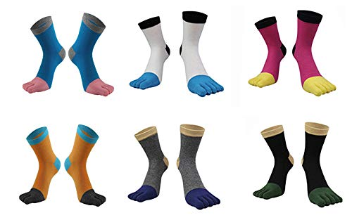 MOHSLEE Mens 5 Finger Toe Socks Striped Sports Wicking Casual Crew Socks 4 Pack
