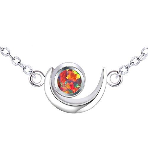 KELITCH 925 Plata de Ley Cadena Luna Diseño Rojo Sintético Ópalo Piedra Colgante Collar