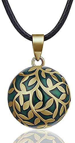 Yiffshunl Collar con Colgante de Moda, Collar de Bola de armonía, Bola de Campana Verde para Mujer, Collar de Bola de Embarazo Mexicano de armonía