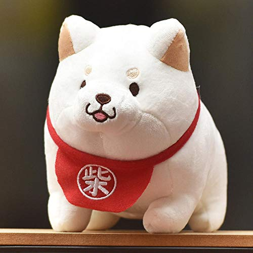 Recordever Bambola di Peluche Shiba Inu Ragdoll Cucciolo di Peluche Simpatico Cucciolo di bambù, Shiba Inu_30cm Marionetta da Sposa Bianco