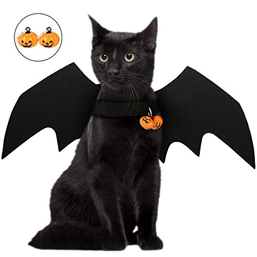 PETLOFT Cat Costume Bat Wings, Cat Halloween Costume with Two Pumpkin Bells Adjustable for Cat and Small Dog