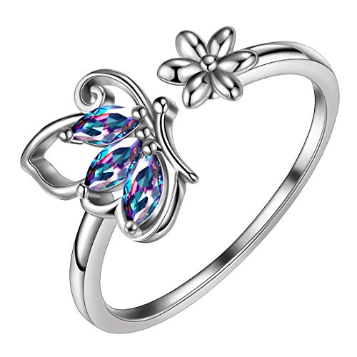 Aurora Tears Mystic Rainbow Topaz Butterfly Ring 925 Sterling Silver Opening Adjustable Rings Cubic Zirconia Gfits for Women and Girls DR0074M