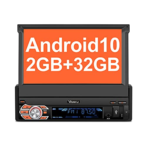 Vanku Android 10 Autoradio 1 Din Radio mit Navi Ausfahrbares Touchscreen Unterstützt Qualcomm Bluetooth 5.0 DAB+ Android Auto WiFi 4G 7 Zoll