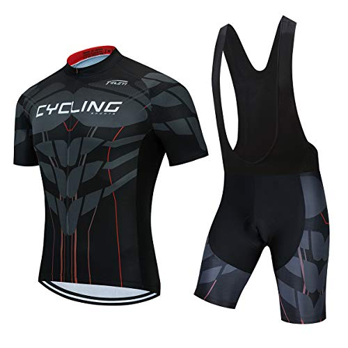 Mars Jun Fietsshirt voor heren, sneldrogend, fietskleding, ademend, fietsshirt met korte mouwen + fietsbroek met 3D-zeem
