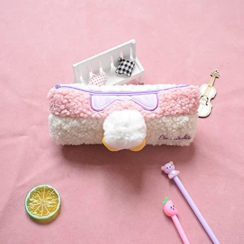 MRBJC Estuche para lápices, estuche de peluche, bolsa de artículos de papelería para estudiantes con cremallera para suministros escolares, herramientas, gadgets rosa 20 x 10 cm