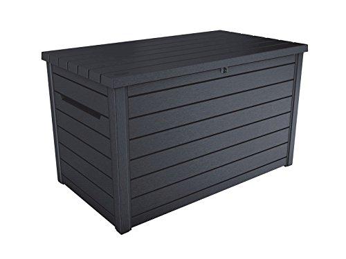 Koll-Living Auflagenbox/Kissenbox Goliath XXL 870 Liter Farbe : Graphit l 100% Wasserdicht l mit Belüftung dadurch kein übler Geruch/Schimmel l Moderne Holzoptik l Deckel belastbar bis 50 KG