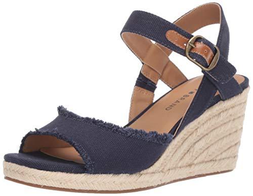 Lucky Brand Women's MINDRA Espadrille Wedge Sandal, Indigo, 5.5