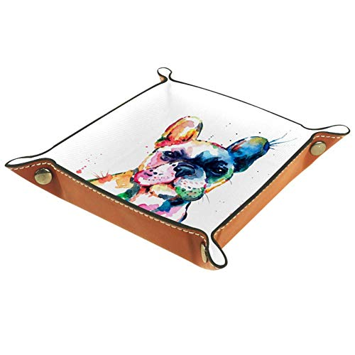 Leather Valet Tray Bedside Storage Organizer Nightstand Desktop Dresser Jewelry Catchall Tray for Key Coin Change Phone Wallet Frenchie French Bulldog Watercolor Funny