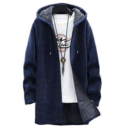 Chaqueta de Invierno con Rebeca de Lana para Hombre, suéteres Delgados, suéter Largo con Capucha de Invierno, Abrigo Grueso y cálido em267 Navy Blue L